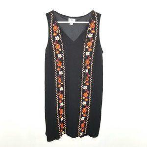 {Old Navy} Black Boho Embroidery Floral Dress Sz M